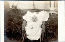 rppc Baby outside in gown in wicker chair/stroller/buggy 1908 Roberstville CT