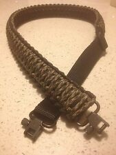 ADJUSTABLE PARACORD GUN SLING BLACK & OD GREEN CAMO GROVTEC SWIVELS