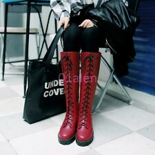 2017 Womens Lace Up Knee High Boots Mid Heel Round Toe Chunky Heel Riding Shoes