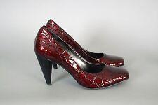 DKNY Donna Karen : 7 : Crocodile Embossed Patent Leather Red Pumps Heels