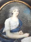 PORTRAIT DE MADAME MALOU. HUILE. MINIATURE. ANTOINE FLEURY. FRANCE. XVIII-XIX