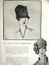Femenil Art Deco FLAPPER HATS CAPS SOMBREROS 1926 Spanish Fashion Ad Matted
