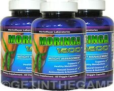 3X MORINGA OLIEFERA Capsules 1200 mg WEIGTH MANAGEMENT 100% NATURAL NEW