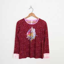 $99 Custo Barcelona Burgundy Pink Angel Floral Print T-Shirt Blouse Top 3 40 M