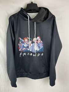 Friends Anime Black Hoodie, size Large
