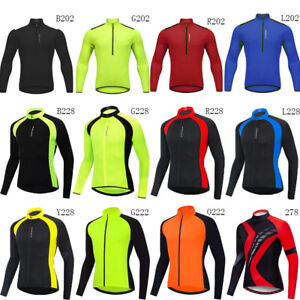 Mens Team Cycling Jersey Bike Tops Long Sleeve Bicycle Jerseys Racing Shirt