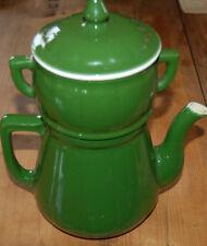 Magnífico antigua cafetera verde porcelana 24 cm A11