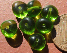 50 Czech Glass 8mm Peridot Green Puffy Triangle Rondelle Spacer Beads
