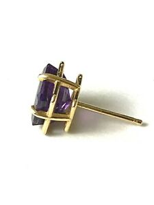 Single Amethyst Earring 14k Gold Post Setting Stamped