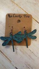 oxidized copper look  pierced earrings dragonfly design fashion jewelry