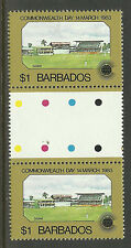 BARBADOS 1983 COMMONWEALTH DAY CRICKET 1v GUTTER PAIR MNH