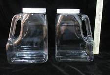 Plastic Containers Jugs Clear Handles w/ White Lids Wide Mouth Kitchen Storage 2