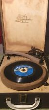 Symphonic Vintage PORTABLE RECORD PLAYER PHONOGRAPH WORKS In Case, 45 78