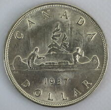 CANADA 1937 KING GEORGE VI SILVER VOYAGEUR UNCIRCULATED ONE DOLLAR COIN A