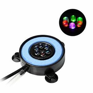 Multi Colored LED Aquarium Bubbling Stone Disk  Fine Bubble Fish Tank