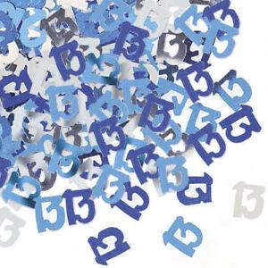13th Blue Glitz Confetti - 14g - Table Birthday Party Foil Decoration