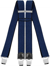 Decalen Mens Braces with Very Strong Clips Heavy Duty Suspenders One Size Fits X