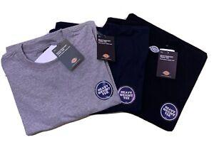 Dickies Mens Heavyweight Short Sleeve Crew Tee- 3 Pack Grey/Black/Navy - Small
