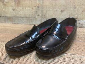 Salvatore Ferragamo Italy Nash Black Patent Leather Women's Penny Loafers 7.5 B
