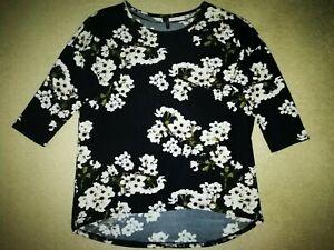 Long-Pullover von Vero Moda in Schwarz geblümt~~Größe L