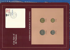 Coin Sets of All Nations Guyana 4 coins w/card 1985-1988 UNC 25 cents 1988