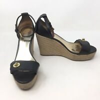 Coach Wedge Sandal Ankle Strappy Espadrille Black Leather Size 8.5 B Clasp L6A
