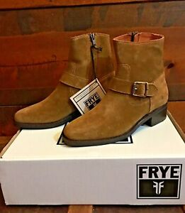 Frye Hanna Engineer Ankle Boot Tan Suede Leather Bootie Women 8.5M Western