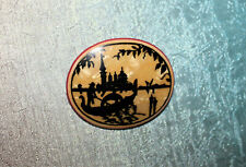 Painted Celluloid Silhouette Gondola Italy Pin Big Vintage 1920s Art Deco Hand