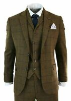 Mens Herringbone Tweed Brown Check 3 Piece Wool Suit Peaky Groom Formal Tuxedos