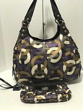 Coach Madison 14420 Scarf Print Op Art Chainlink Maggie Shoulder Bag & Wallet