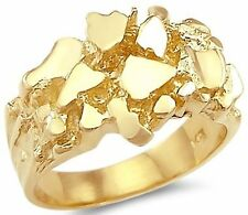 Amazing New 14k Solid Yellow Gold Large Men Nugget Ring Band all size avaliable