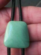 Vtg.Sterling Silver Plated ~Black Leather& Green Stone Bolo Tie