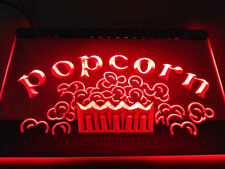 Popcorn Movie Theater Snack Food Neon Sign Light Plate Flag Bar Club Pub Gift