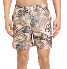 Original Penguin Tropical Leaf Print Swim Trunks, Size 32, MSRP $79