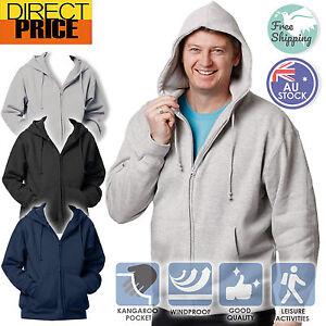 Mens Full Zip Fleecy Hoodie Warm Comfort Cotton Black Grey Navy 8 sizes FL03