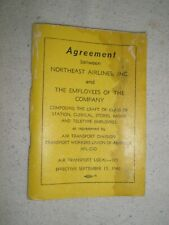 NORTHEAST AIRLINES 1969 Employee Union Agreement Book  yellow