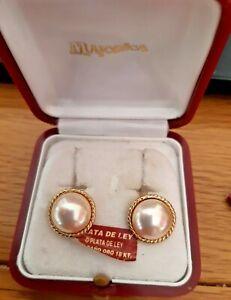Majorica 18 carat Gold Plate on Sterling Silver Pearl Earrings