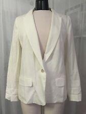 Ann Taylor Loft Women's Jacket  Ivory 1 Button Blazer Size Medium New