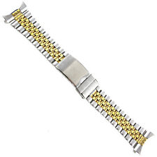 22mm Hadley Roma Curved/Straight Two-Tone Stainless Mens Safety Clasp Band 5697