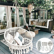 Hanging Cotton Rope Macrame Hammock Chair Swing Outdoor Garden+ Set Metal Tools