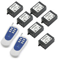 AC 220V 1000W 6X1CH Relay Remote Control Switch Wireless RF 2 Transmitter 150m