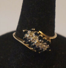 10K Gold Ladies Sapphire and Diamond Cluster Ring - Size 7.75 - 1.9 grams