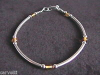 "Baltic Amber & Sterling Silver Tube Style Bracelet 925 SS 6.5"", 7"", 7.5"" or 8"""