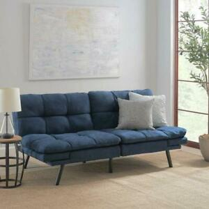 Futon Sofa Couch Sleeper Bed Convertible Memory Foam Mattress Blue Apt Condo New