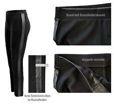 Hosen Damen Stoffhosen (STRETCH) mit Gummizug Freizeithose mit Kunstleder 40-46