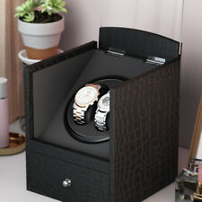 Luxury Black Automatic 2 Watches Display Watch Winder Box 2+3 Leather Storage UK