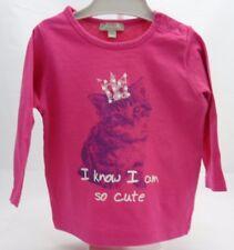 Grain de Blé tee-shirt manche longue rose avec motif chat bébé fille 6 mois