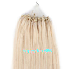 Easy Loop Micro Ring Beads Tip Remy Human Hair Extensions Platinum Blonde 16inch