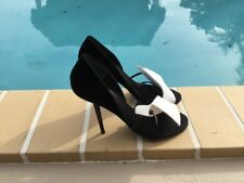 BRUNO FRISONI BLACK & WHITE TUXEDO CRYSTAL HEEL DETAIL SANDAL PUMPS Sz 38.5M
