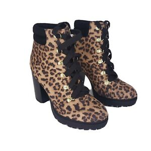 Soda Women Ankle Combat Boots High Heels Lace Up Cheetah Leopard size 7 1/2